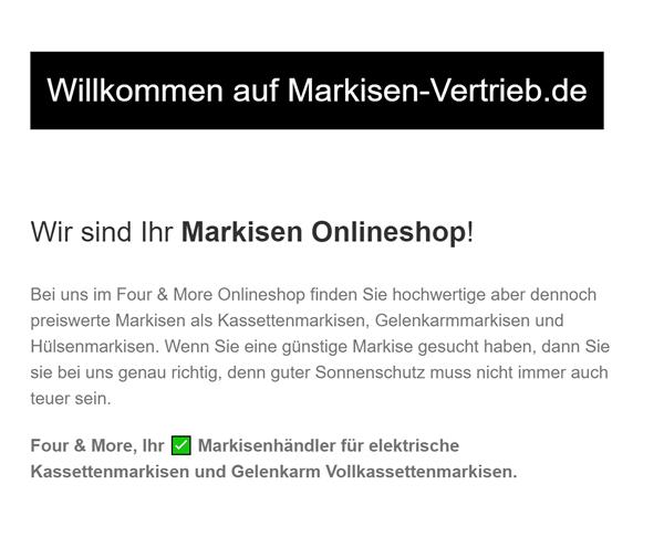Markisen-Onlineshop für  Schleswig-Holstein, Elmshorn, Flensburg und Neumünster